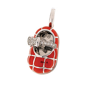 18K White Gold & Red Quilted Shoe