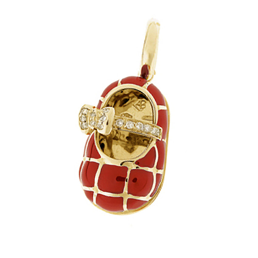 18K Yellow Gold & Red Quilted Shoe