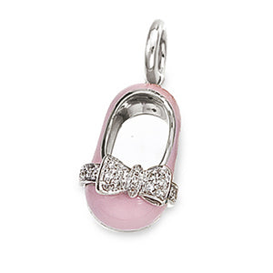 18K White Gold & Pink Shoe Charm
