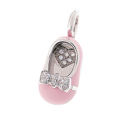 18K White Gold Pink Shoe Charm with Diamond Bow & Diamond Heart Insole
