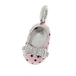18K White Gold & Pink Polka Dot Shoe