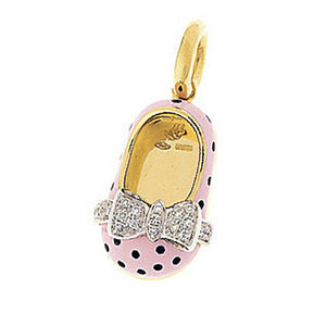 18K Yellow Gold & Pink Polka Dot Shoe
