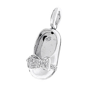 18K White Gold Baby Shoe Charm