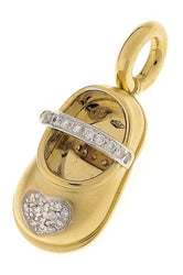 18K Gold Shoe with Diamond Heart