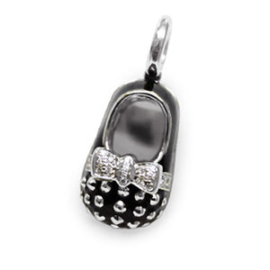 18K Black Baby Shoe Charm with Gold Studs