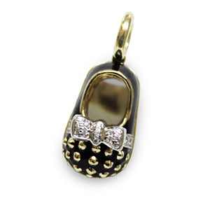 Black Baby Shoe Charm with 18K Yellow Gold Studs