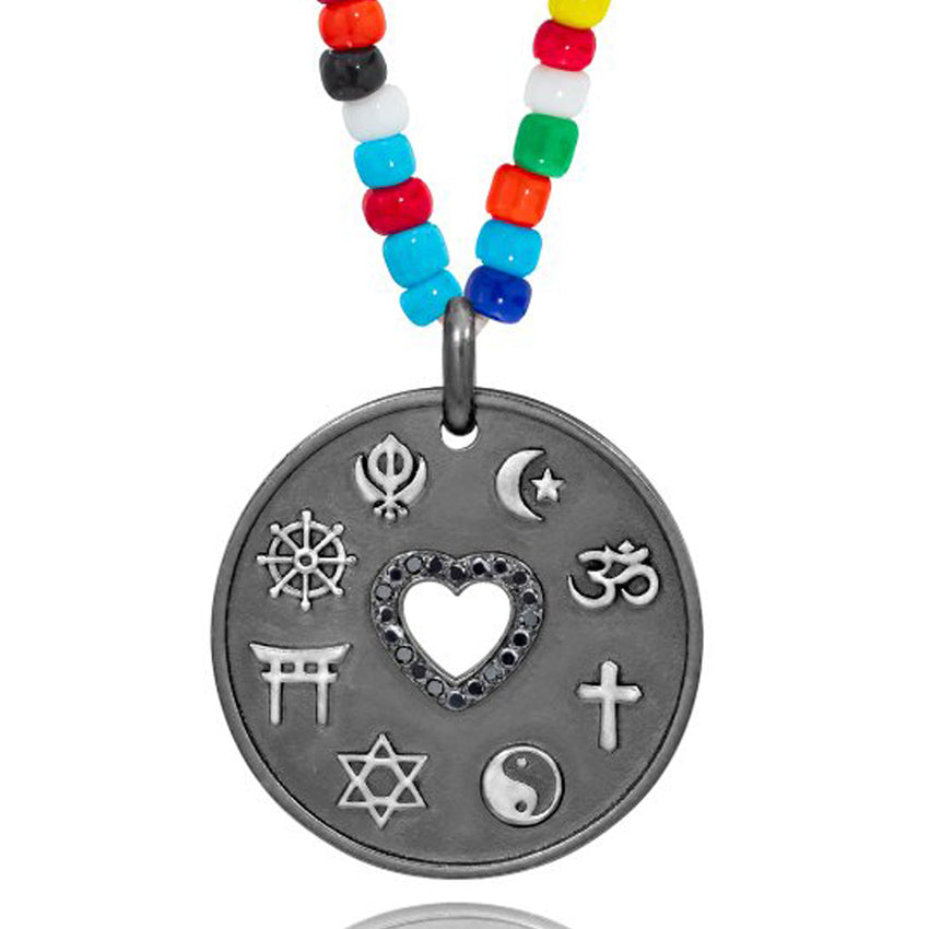 Love is My Religion Black Rhodium on Colorful Beaded Chain