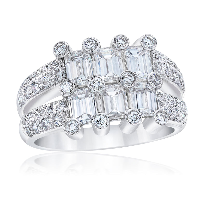 Two Tier Emerald Cut Diamond and Platinum Ring