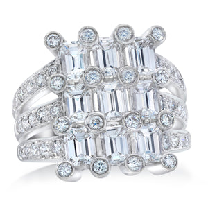 Three Tier Emerald Cut Diamond and Platinum Ring