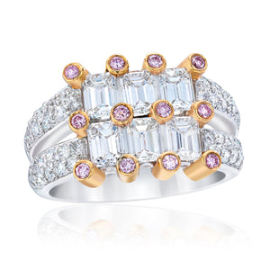 Two Tier Emerald Cut Diamond Ring with Fancy Pink Diamonds