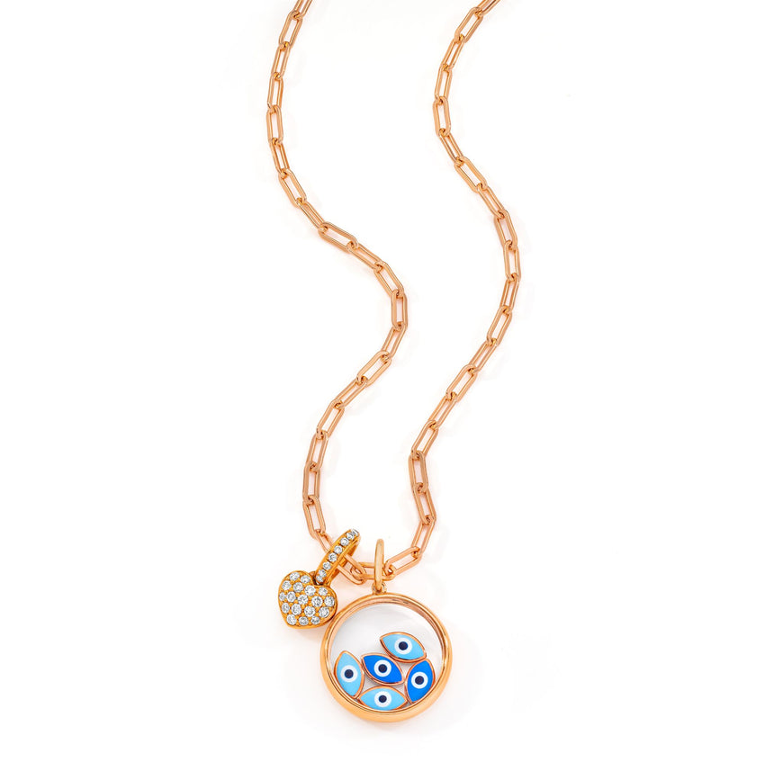 18K Heart  & Floating Eye Charm on Rose Gold Vermeil Link Necklace - Necklace & Charms sold separately