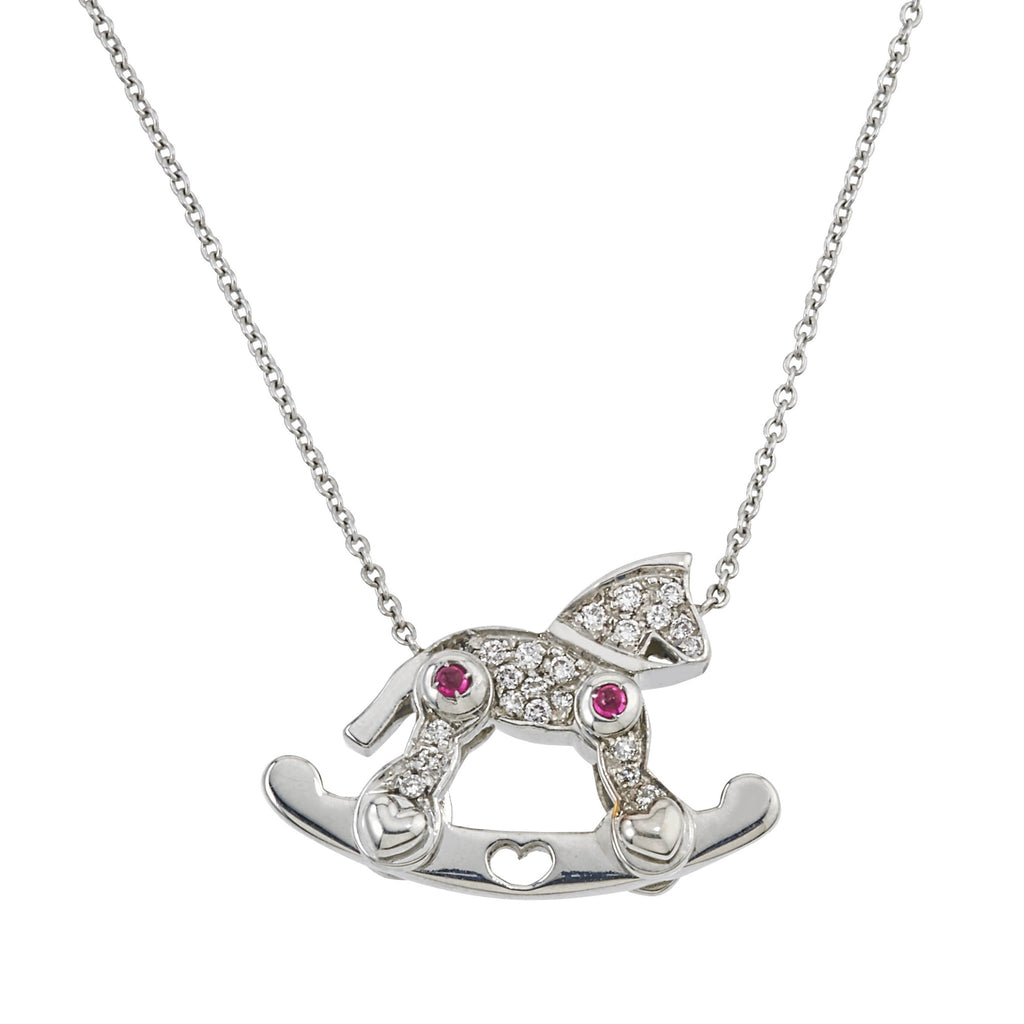 18 White Gold Rocking Horse With Diamonds