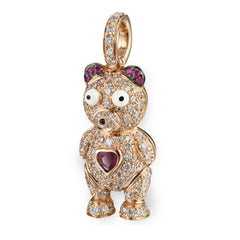 Pave Teddy Bear with Ruby Heart & Ears