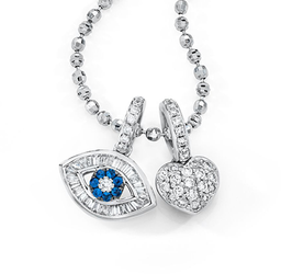 18K Small Baguette Evil Eye Charm with Pave Heart on Necklace - Charms & Necklace sold separately