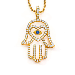 18K Large Open Hand Hamsa Charm with Heart on Necklace - Charm & Necklace sold separately