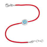 White Gold Vermeil & Diamond Women's Light Blue Evil Eye Bracelet