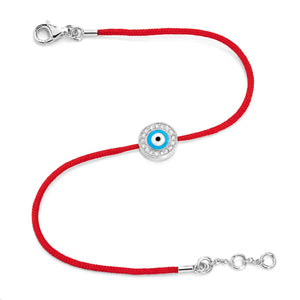 White Gold Vermeil & Diamond Women's Evil Eye Bracelet