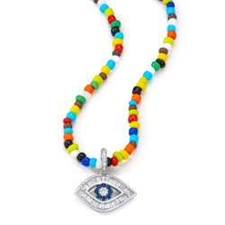 18K White Gold Large Baguette Diamond Shaped Evil Eye Charm