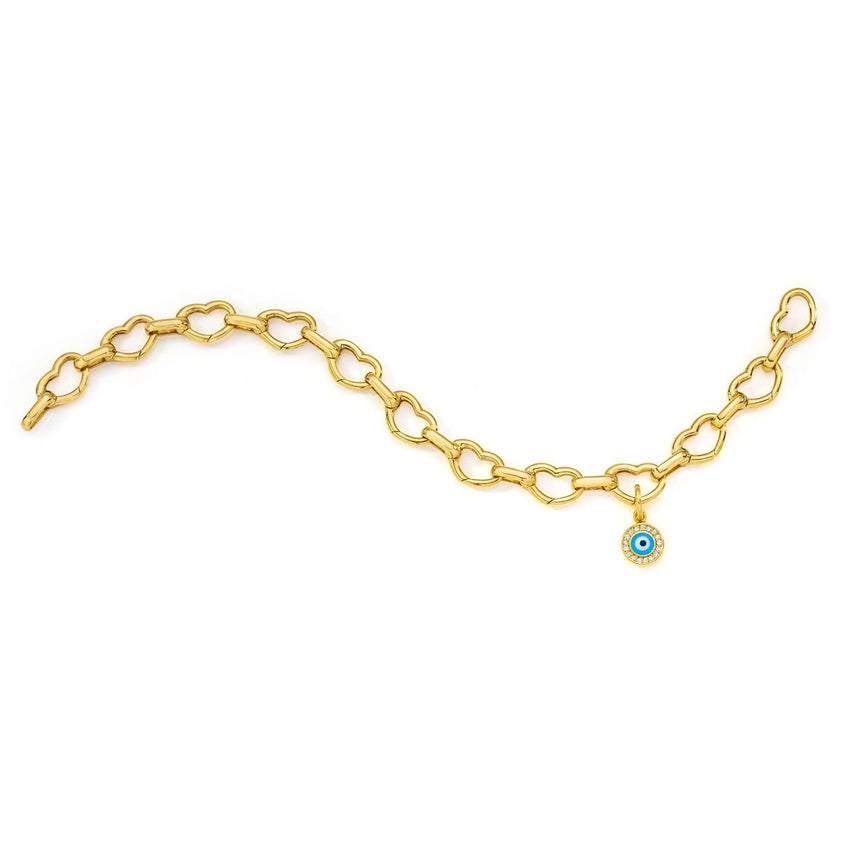 18K Yellow Gold Small Open Heart Link Bracelet with Evil Eye Charm- Bracelet & Charm sold separately