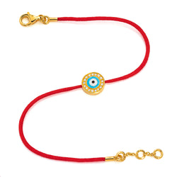Yellow Gold Vermeil & Diamond Baby Light Blue Evil Eye Bracelet (Size 4-4.5