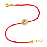Yellow Gold Vermeil & Diamond Women's Light Blue Evil Eye Bracelet