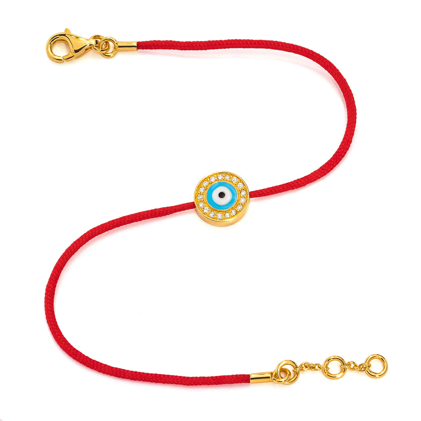 "Yellow Gold Vermeil & Diamond Baby (Size 4-4.5"") Evil Eye Bracelet"