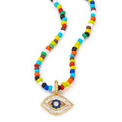 18K Yellow Gold Large Baguette Diamond Shaped Evil Eye Charm