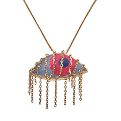 Aysha Evil Eye Fringe Necklace in 14K Yellow Gold