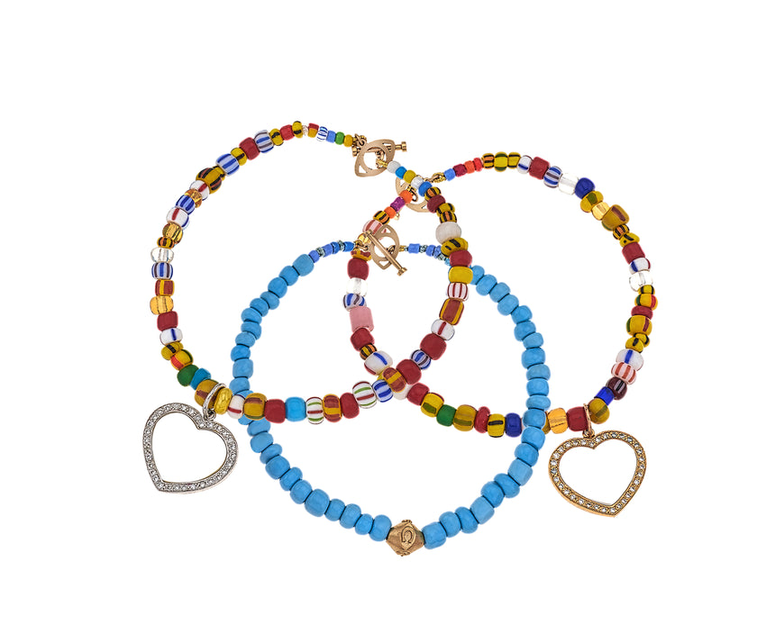 Heart & Evil Eye Beaded Bracelet