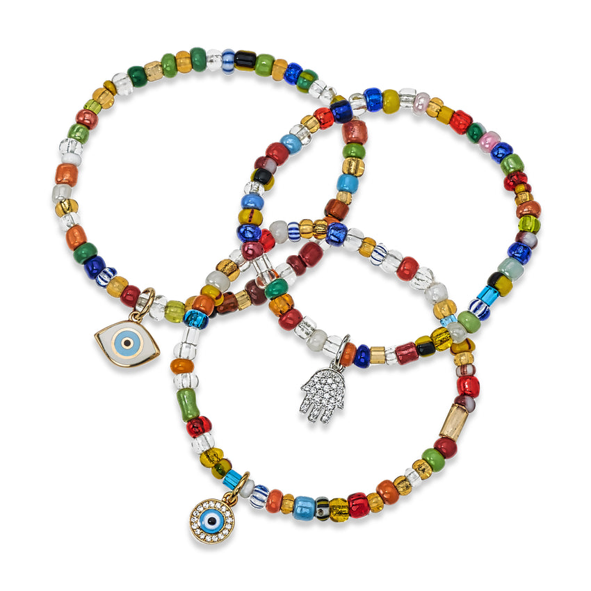 Evil Eye & Hamsa Variety Beaded Bracelets, 18K Gold - Priced Individually