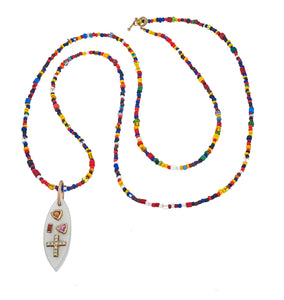 Mari Diamond & Moonstone Evil Eye Beaded Necklace, 18K Gold