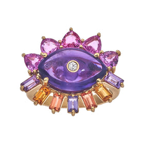 Melissa Evil Eye Gemstone Ring in Amethyst & 14K Yellow Gold