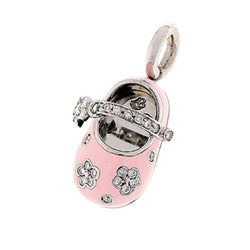 18K White Gold & Pink Flower Shoe Charm