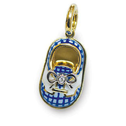 18K Yellow Gold Blue Gingham & White Saddle Shoe