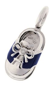 18K White Gold & Navy Blue Saddle Shoe