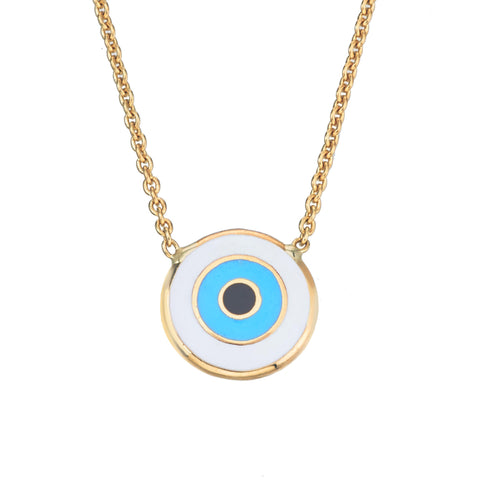 18k Enamel Eye on Chain