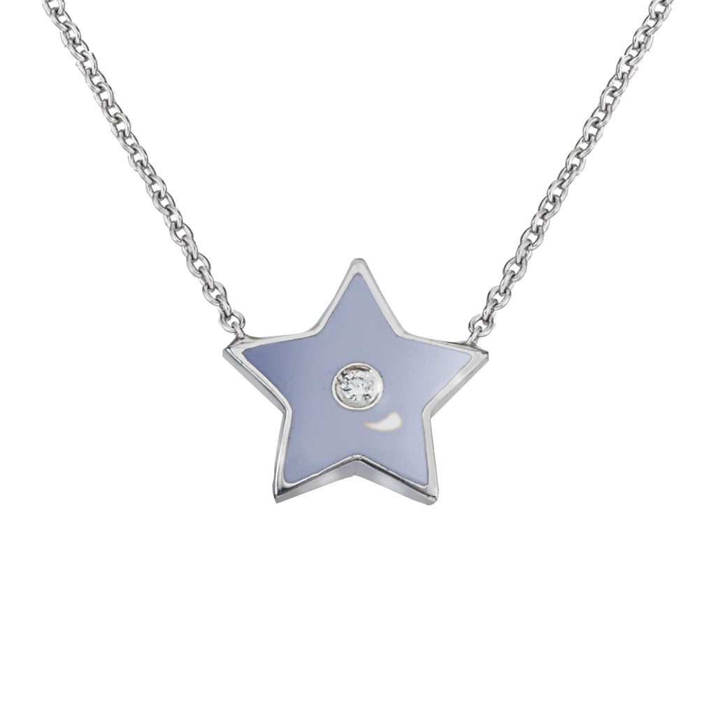18k White Gold and Enamel Star Charm With Diamond on Each Side