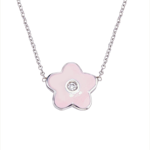 18k White Gold Enamel Flower With Diamond
