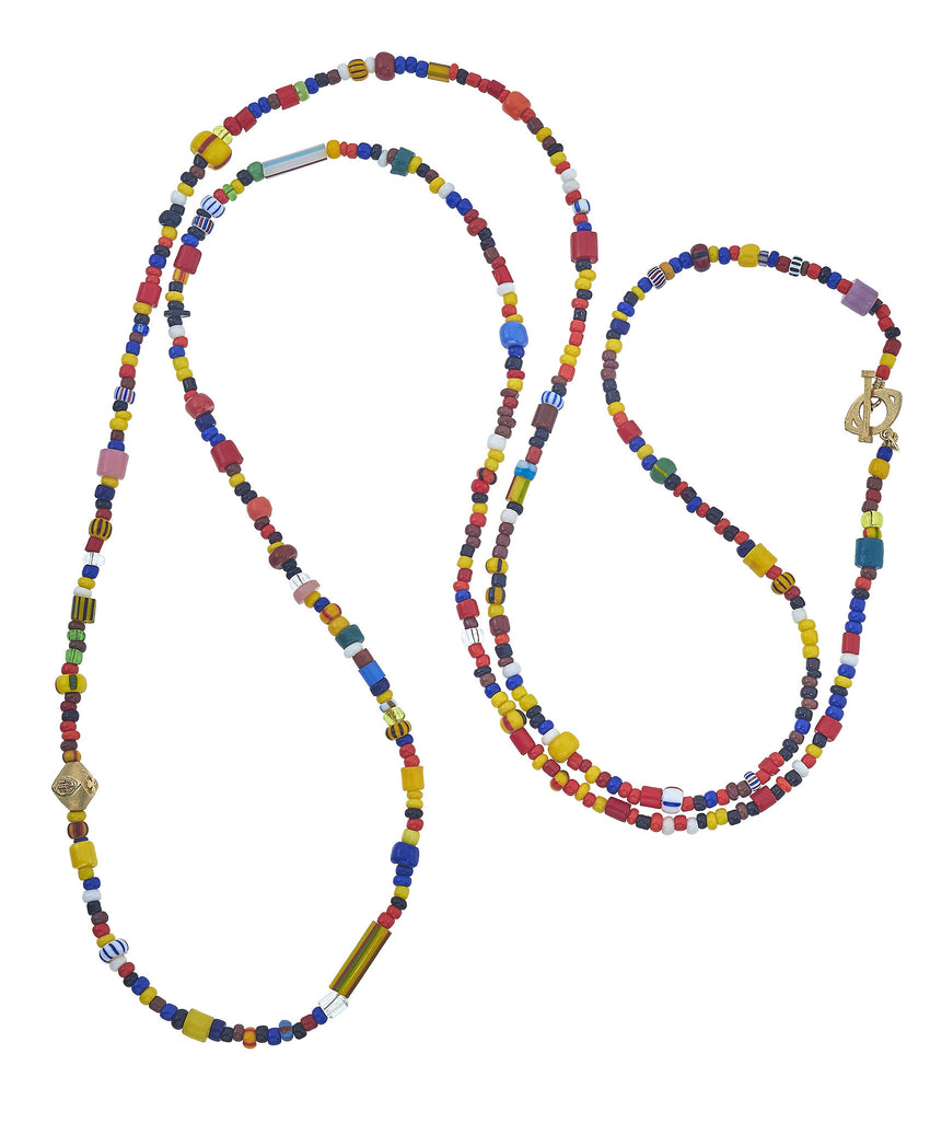 Sass Beaded Necklace with 14K Gold Bead and Toggle
