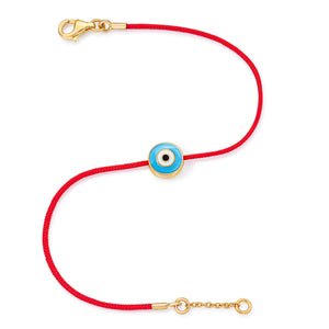 Yellow Gold Vermeil Women's Light Blue Evil Eye Bracelet (Size 6-6.5