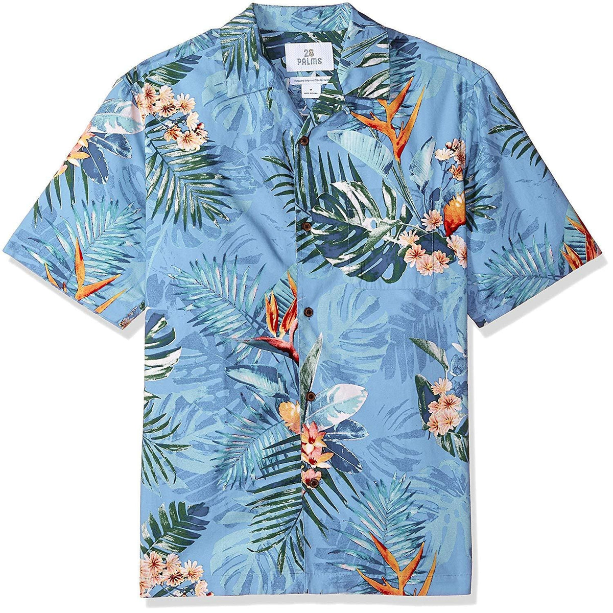 XX-Large Black Pineapple 28 Palms Mens Relaxed-Fit 100/% Cotton Tropical Hawaiian Shirt