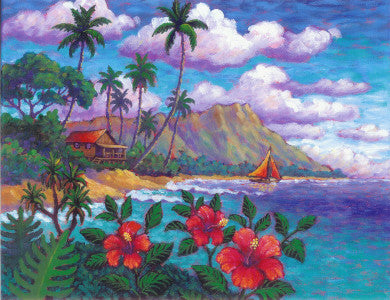 Diamond Head Hibiscus Art Print