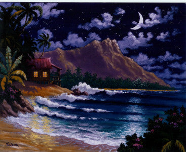 Diamond Head Moon Art Print