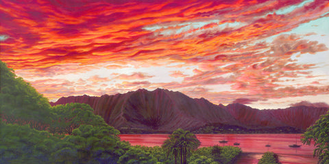Fiery Kaneohe Bay Sunset
