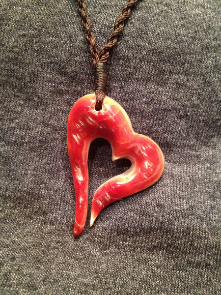 Red Abalone Open Heart Pendant