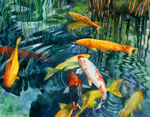 Koi In Motion Art Print
