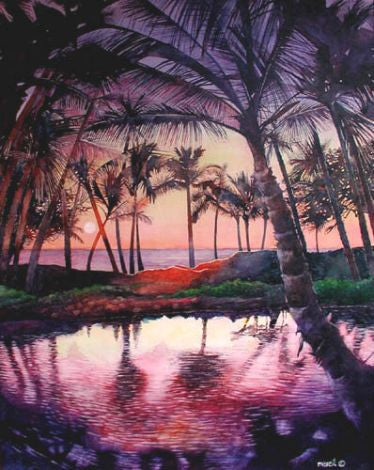 Pond At Anaehoomalu Bay Art Print