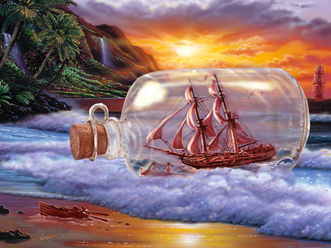Ship in a bottle Art Print