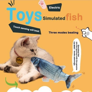 Cat Electric Wagging Fish Realistic Plush Toy