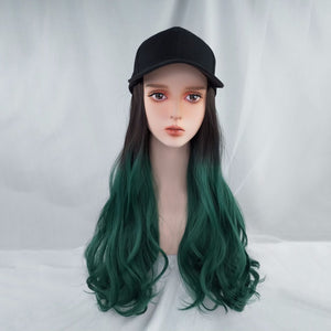 Women's Long Curly Hair Wig Hat